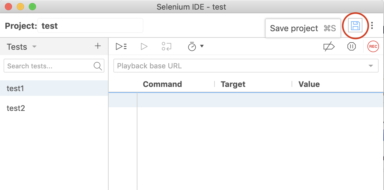 Selenium IDE project