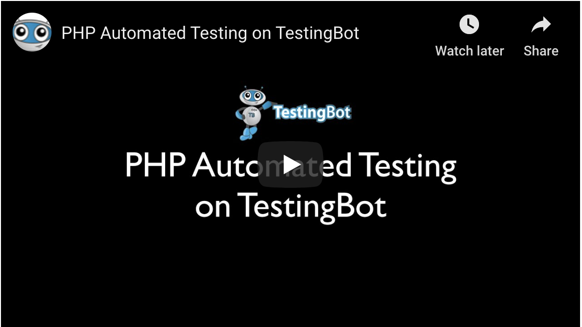 Video tutorial on How to run PHP Automated Test on TestingBot