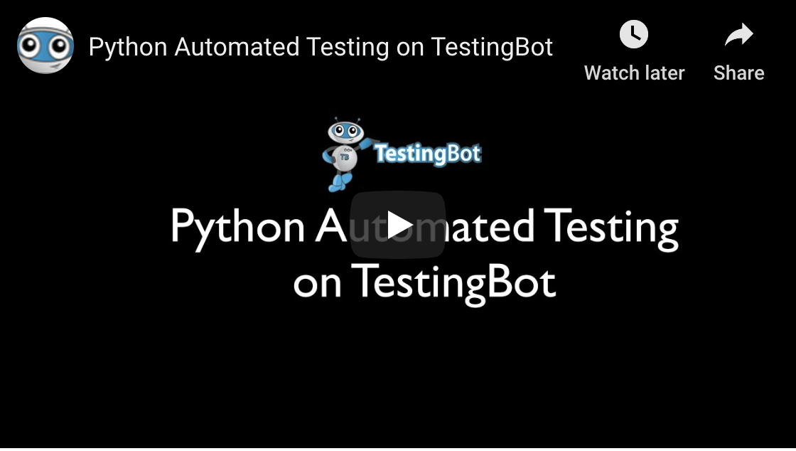 Video tutorial on how to run a Python Automated Test on TestingBot
